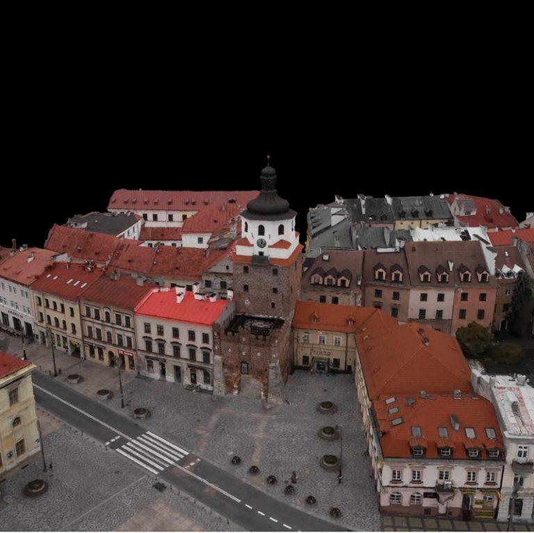 Brama Krakowska w Lublinie fotogrametryczny model 3D pomiary dronem RTK